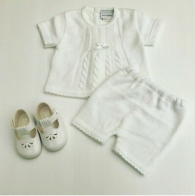 Traditional Spanish Style Baby Girls Knitted Outfit White Top& Shorts Cable Knit