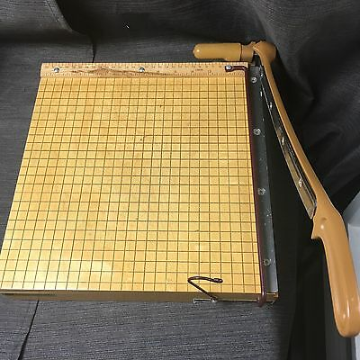 """Vintage INGENTO B Maple Wood Heavy Duty 12"""" Guillotine PAPER CUTTER"""