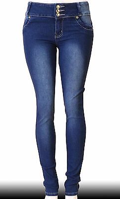 High Waist  Stretch Push-Up Colombian Style Skinny Jeans in M.blue  Y5057