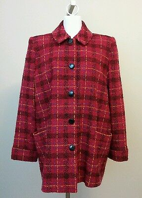 A Pea In The Pod Red Plaid Button Front Maternity Blazer Jacket Size Medium
