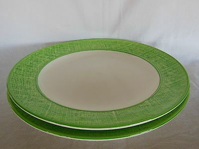 """Set of Two (2) Stangl GREEN Burlap Texture Ware Round DINNER PLATES 10-5/8"""""""