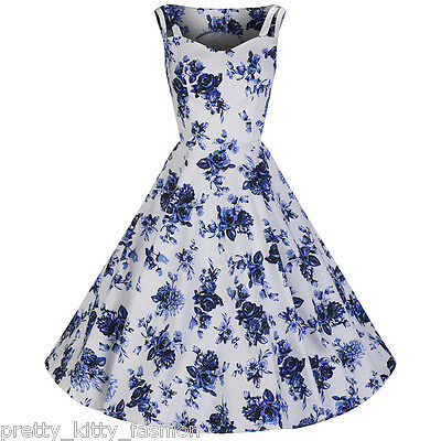 108f50fece72 Pretty Kitty Fashion White Blue Vintage Floral Blossom Rockabilly Swing  Dress