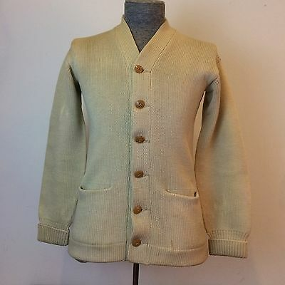 Shenk & Tittle Mens Small Vintage 30s Wool Cardigan Varsity Sports Sweater