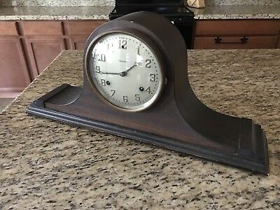 1920's Waterbury Wooden Mantel Clock, Shelf, Keywound, Antique