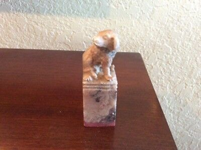 Antique Chinese Soapstone Seal Of Dog