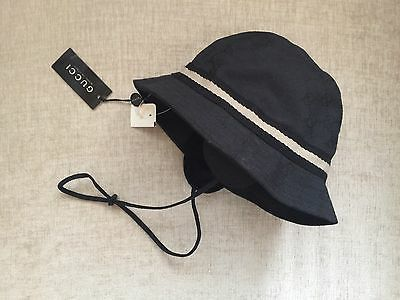 GUCCI Canvas Bucket Hat Kids Youth  Size M Black