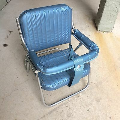 Vintage Foldable Metal Blue Vinyl Child Baby Booster Car Seat 60's or 70's