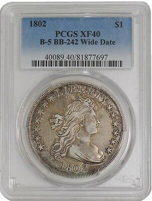 1802 Draped Bust Silver Dollar PCGS XF 40 Wide Date Excellent Eye Appeal