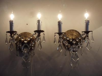 ANTIQUE VTG BRASS TINY PETITE CHANDELIER SCONCE WALL LAMP PAIR w CZECH CRYSTALS