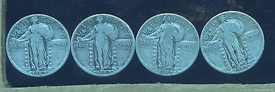 (LOT OF 4) 1929 VG-F Standing Liberty silver quarter dollar coins.