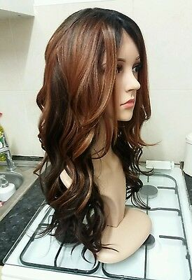 Brown, Brunette 100% Human Hair Blend Wig, Dark Brown, Long, lace front