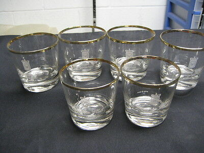6 Canadian Club Imported Whisky Low ball Glasses-Clear Gold trim on rim