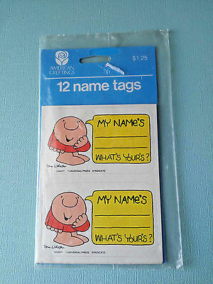Ziggy Vintage Name Tags American Greetings New Sealed 12 Tags Tom Wilson