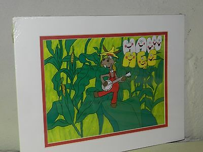 VTG 70s HEE HAW TV SHOW DONKEY BANJO CORNFIELD ANIMATED CEL PAINTING COUNTRY