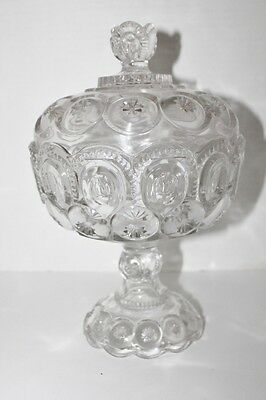 Antique pressed glass Lidded Compote Moon and stars BULLS eye Americana 1880's