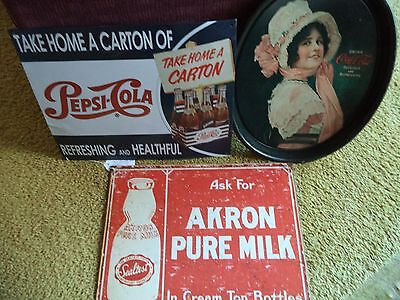 Lot of 2 Advertisement Signs and a Coca Cola Tray