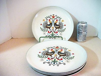 """5 Harker Stoneware Country Style Dinner Plates 10"""" Early Morn Roosters Folk Art"""