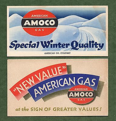 """Two AMERICAN OIL CO AMOCO Unused Blotters - 3""""x5¾"""", 1940's, VG/Exc Cond"""