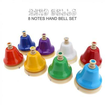 8 Tones Colorful Hand Bells Rings Set Child Early Education Music Instrment Toy
