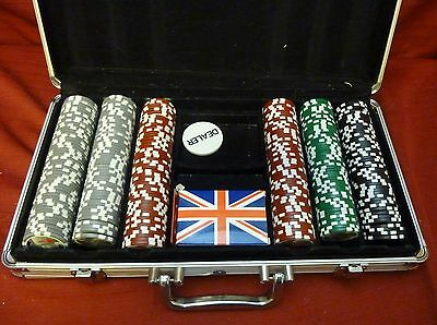 Set of Texas Hold em Poker Chips in Aluminum Case w/ Cards, Free Shipping!