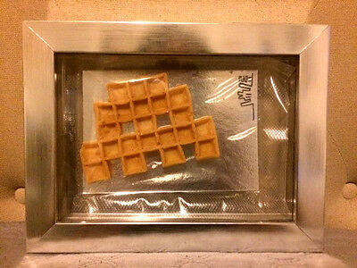 Space Invader Rare Waffle 2011 Seal With Plexiglass Box On Silver Wooden Frame