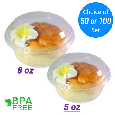 5oz 8oz Clear Hinged Cake Jello Jelly Shot Souffle Portion Mousse Cups 50/100ct