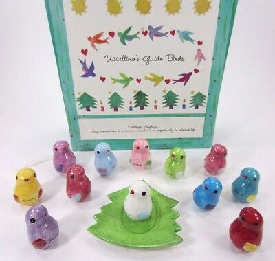 Uccellino's Guide Birds Porcelain by Susan LeVine 2002 Gift Box Set of 12 w/Tree