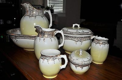 Spectacular Antique 9 Piece Willets Ceramic Wash Set 1884