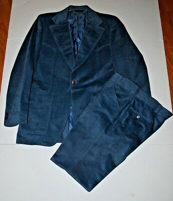 VINTAGE WESTERN JACKET faux suede Country Blue by Merit -  ROCKABILLY 44L
