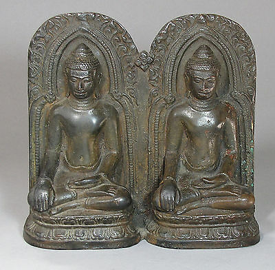 A Rare/Fine Chinese (Sino-Tibetan) Bronze Seated Twin Buddha Figures-18th C