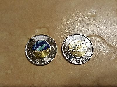 Set of Canada 150 Glow in the Dark $2 & plain $2 coins