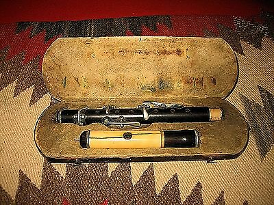 Antique 1800's Flute Fife Piccolo Wind Wood Instrument For Restoration Or Repair