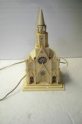 Vintage Raylite Electric Corp Light Up Church Music Box Silent Night 40s working