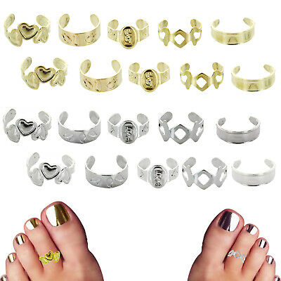 Ornate Gold & Silver 10 Piece Toe Ring Sets Metal Body Jewelry Mid Ring Feet New