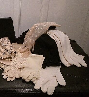 Set of 7 Vintage Pairs Gloves Adult Child Black White Long Short Lace Crocheted