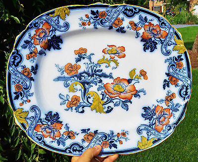 Antique Flow Blue Ironstone Staffordshire Transferware Platter Cauldon Imari 16""