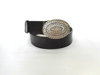 JAEGER Women's Black Genuine Leather Belt Size 30  Made in Italy