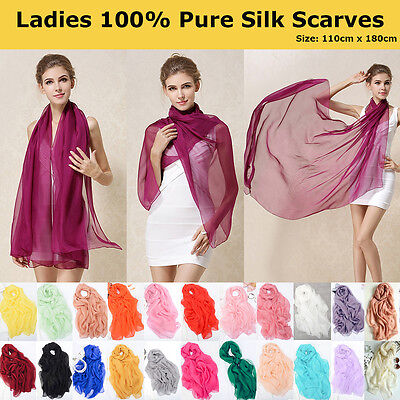 Ladies 100% Pure Silk Long Scarves Solid Colours Soft Elegant Scarf Wrap Shawl