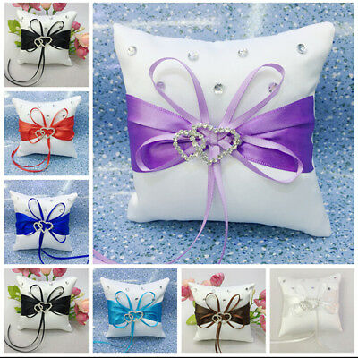 Bridal Wedding Ceremony Ring Bearer Pillow Cushion Crystal Double Heart H&T