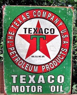 Texaco Motor Oil Tin Metal Ad Sign Reproduction Gas Station Shop Garage Picture