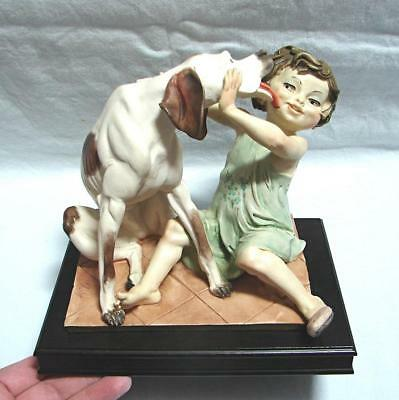 vintage Capodimonte resin figure Small child and dog