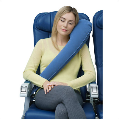 Shaped Portable Inflatable Travel Pillow Neck Cushion Car Flight Rest Support L