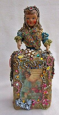 Altered Art Doll Bottle JEWELED ASSEMBLAGE BIRTHDAY WISHES OOAK Mixed Media #45