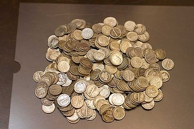 $1.00 Face Value - 90% Silver Mercury and Roosevelt Dimes - (1916-1964)