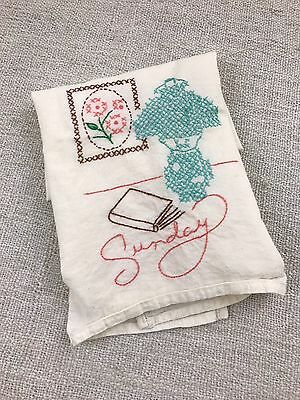 Hand Embroidered Kitchen Towel Sunday Book and Lamp Cottage French Country