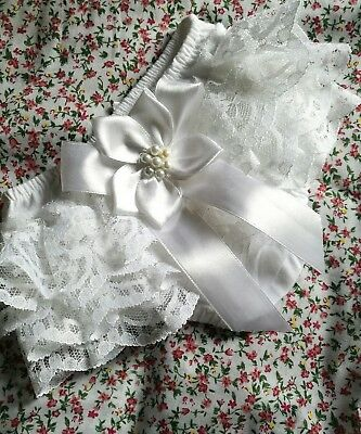 Extra Frilly White  Baby Knickers White Ribbon & Pearl Trim Newborn