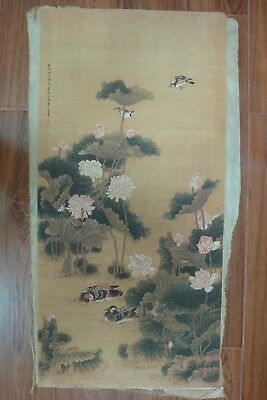 Large Rare Old Chinese Paper Painting Lotus Birds ShenQuan Marks