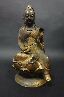 Exquisite Rare Old Chinese Golden Bronze Buddha Seated Statue Figure Sculpture
