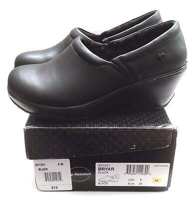NURSE MATES Shoes Clogs, Size 8, Black Leather, Arch Support, Cushioned *NEW!*