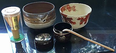 Japanese Tea Ceremony Set,2tea bowls,Chasen wisk,Chashaku spoon,Matcha container